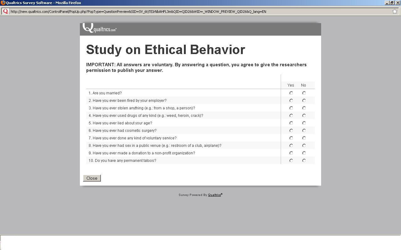 Results of our pre-study to establish the level of privacy intrusiveness of the questions on ethical behaviors Study 3 Rating Very intrusive Moderately intrusive Not at all intrusive Questions Q2: