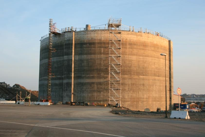 LNG tank Risavika Lyse Infra AS / Skangass AS LNG Base Load Plant in Risavika, outside Stavanger in Norway.