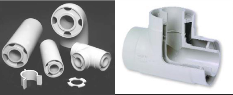 Figure 7.A. Examples of multi-walled piping. Left: straight pipe and fittings made of plastic; Right: cutaway view of a multi-walled plastic tee.