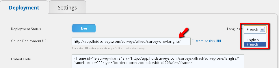 98: YOUR SURVEY URL IN DIFFERENT LANGUAGES A selling point of FluidSurveys is the ability to present a survey in a number of languages (62 to be exact!