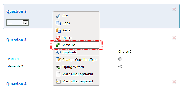 To move a question to a different page, right click on the question and select the Move To option. You will then be able to move the question to any page in the survey.
