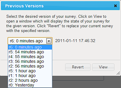 9: RESTORING PREVIOUS VERSIONS OF YOUR SURVEY FluidSurveys allows you to restore previous versions of your surveys.