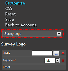 54 INSERT LOGO To insert a logo into your survey, click on Customize from the left side menu and select Survey Logo from the dropdown box.