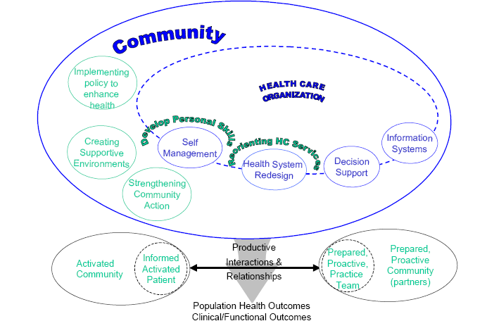 Examples of service delivery components of the Chronic Care Model 14 Based on pilot testing and published evidence, in 2003 the model was revised to include cultural competency, patient safety, care