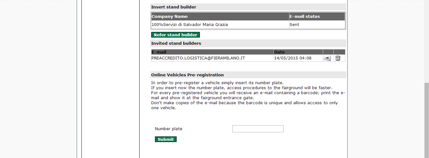 Part 2-Registration of Stand Builder Step 1: Click on Refer Stand Builder to view the existing list of Stand