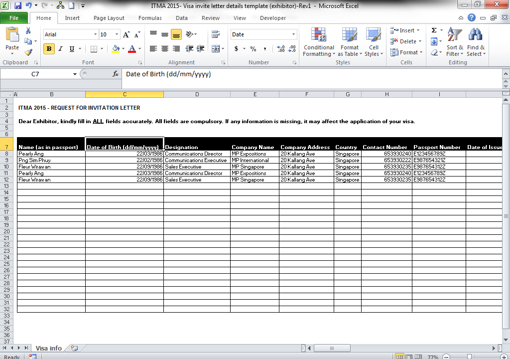 Step 3: Click on here to download the excel template Key in the information as per the fields indicated Save a copy