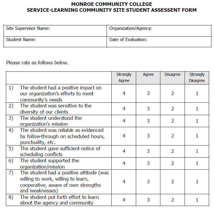 "Evaluation Form for Community Partner of Student Work 21 21 Bender, Susan. ""Service Learning Faculty Manual."