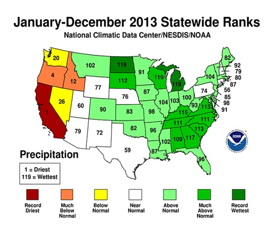 NCDC 2013 Annual Report The average temperature for the contiguous United States during 2013 was 52.4 F, 0.