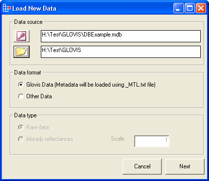 Figure 3. Load New Data Configuration interface First, the name of an Image Catalogue Database (Access Database *.mdb) is required (a dialog window is loaded after clicking the icon).