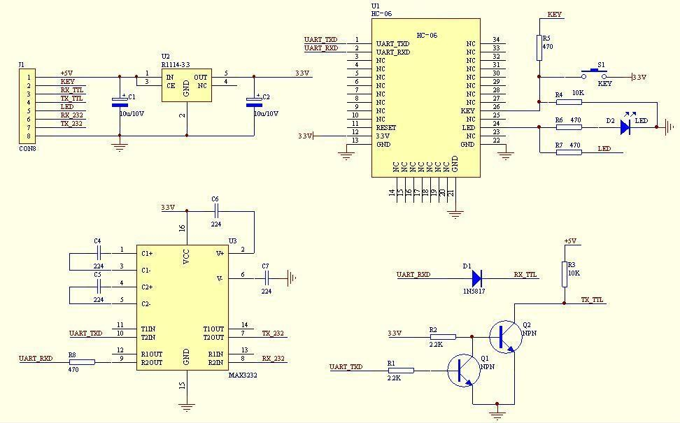 The figure below shows the core module peripheral circuit schematic diagram of the typical application If you use the factory default baud rate, do not want to modify the contents of the baud rate