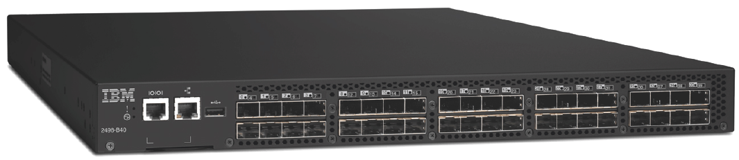 IBM System Storage SAN40B-4 A compact, high-performance, easy-to-install Fibre Channel (FC) SAN switch which enables multiple servers to connect to external disk and tape systems.