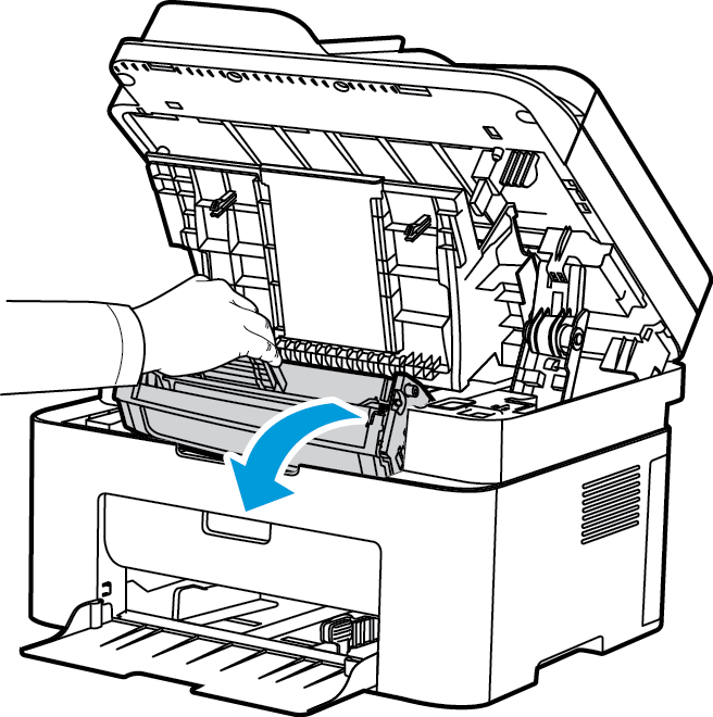General Care 2. Reach in where the arrow indicates open on the right and pull up to release the inside cover. Then lift the panel in the center of the machine to reveal the print cartridge. 3.