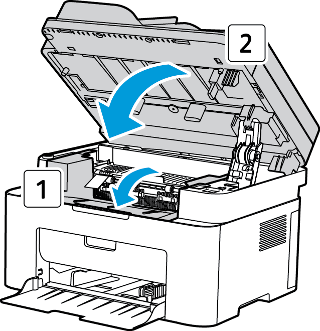 Clearing Paper Jams 4. Remove the jammed paper by gently pulling it out straight. 5. Re-install the print cartridge.