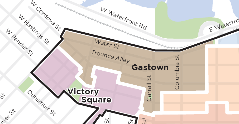 Predominantly defined by Water Street and Maple Tree Square, Gastown has significant public realm areas including the Carrall Street Greenway, the former CPR right-of-way, and Blood Alley Square.