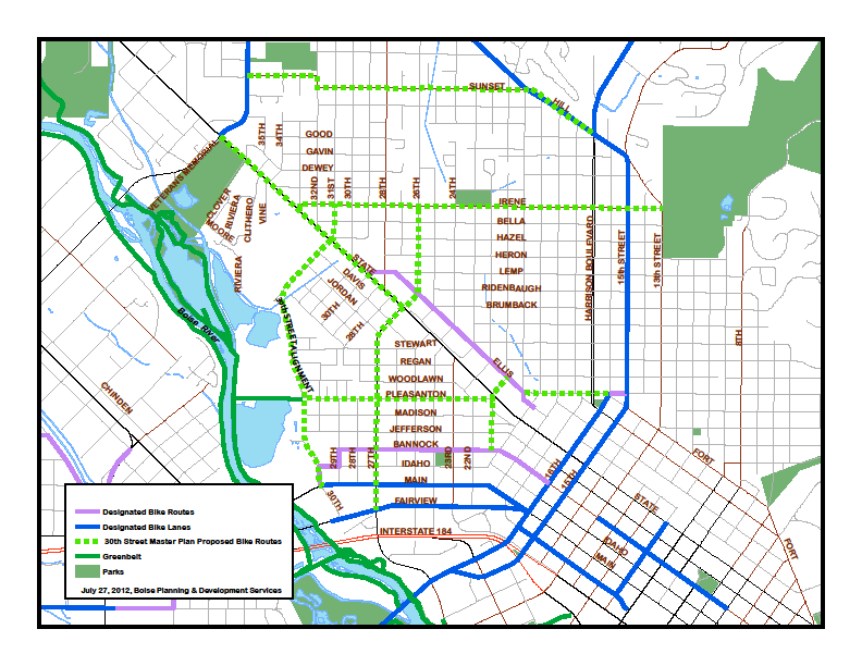 Figure 47: Prpsed Bicycle Netwrk, the prpsed system indicated with dashed green lines, differs frm the ACHD Radways t Bikeways Plan adpted May 27, 2009.