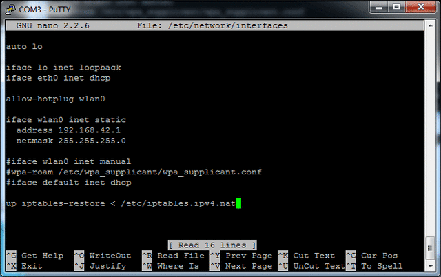 run sudo nano /etc/network/interfaces and add up iptables-restore <