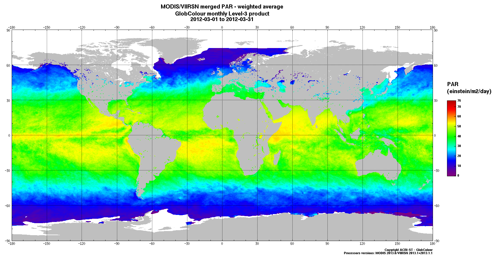 Page : 33 2.2.14 PAR Category Ocean Subsurface Optical PARAMETER PAR Description L3 merging method Sensor availability PAR is the Photosynthetically Available Radiation (einstein/m²/day).