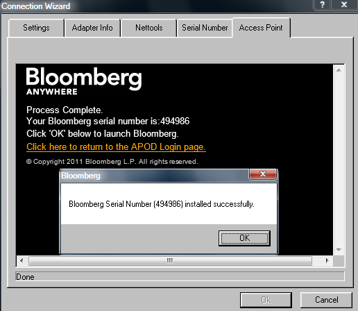 Access Point on Demand Creation Steps If you requested a call back (Fig 12), a Bloomberg Representative will contact you after the reference number is generated.