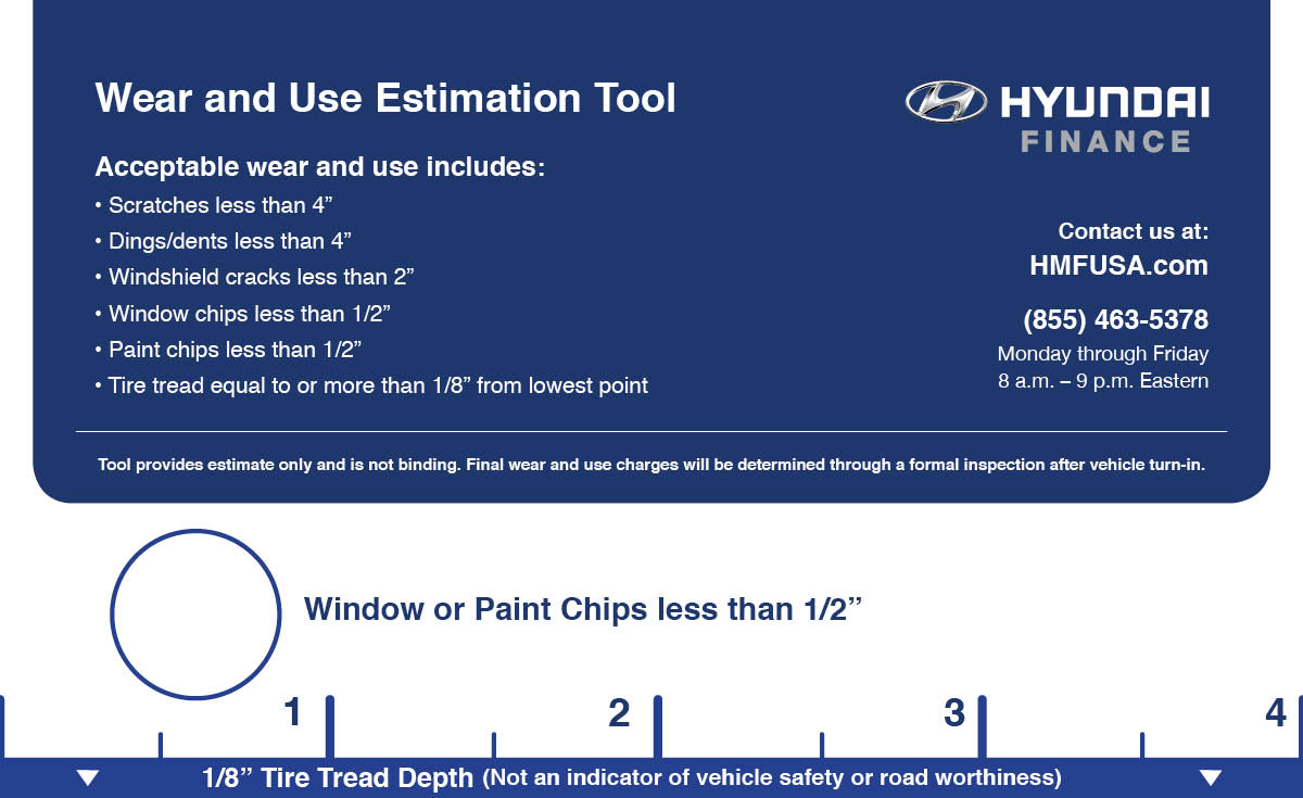Helpful Resources Wear and Use Estimation Tool Evaluate your vehicle s potential excess wear and use by placing this tool over each damaged area.