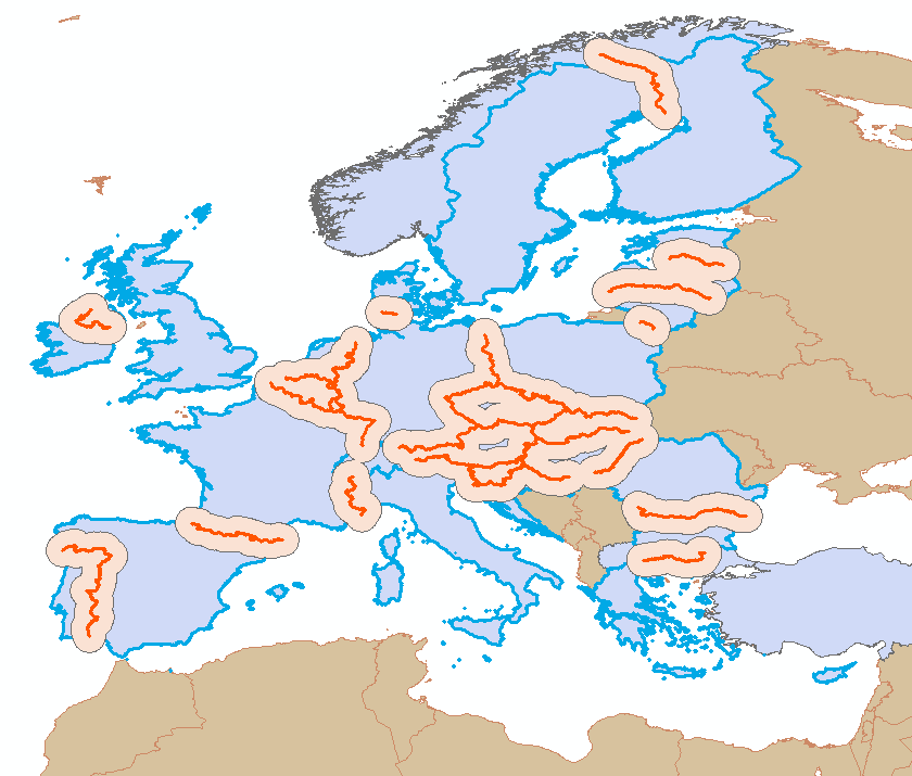 Figure I: Selected intra-eu borders (highlighted in orange) Figure II: 100 km buffer zone