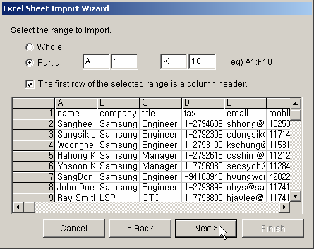 Click the browse button, and select an Excel file whose worksheet is to be imported. Click Next, and select a worksheet to import.