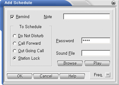 Click on Station Lock option. Enter the Password. You can also enter a comment in the Schedule Note field, if required.