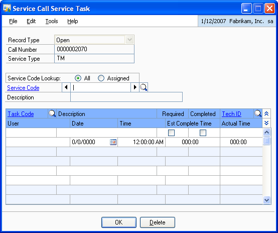 CHAPTER 4 ROUTINE PROCEDURES 1. Open the Service Call Service Task window. Transactions> Service Call Management > Service Calls > Service Type item information icon button 2.
