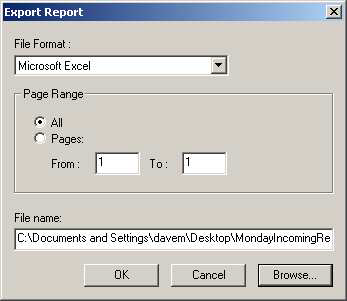 Introduction 7 Figure 4 Export Report Window File Format Select the desired format from the File Format: drop down menu.
