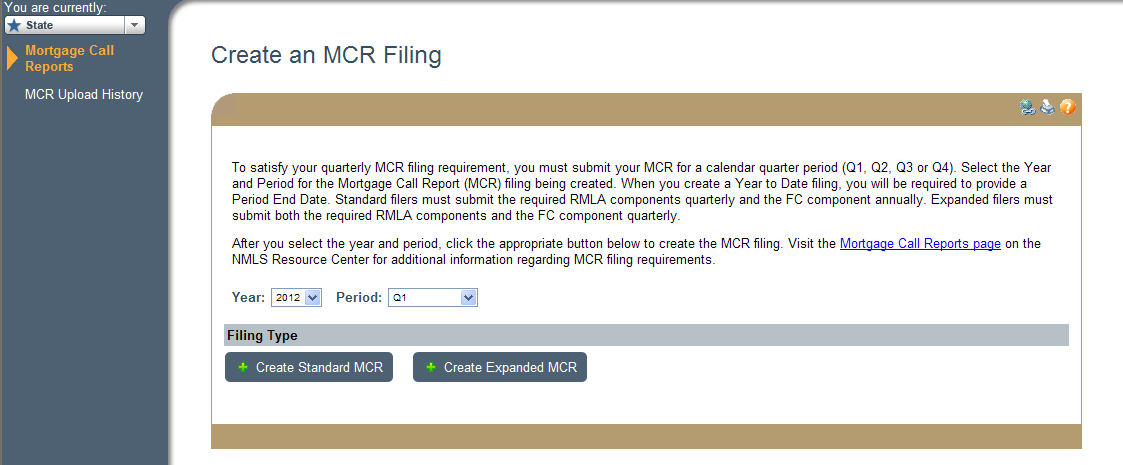 3. Click Create New MCR. NOTE: To create an MCR filing via the upload process, see Upload an MCR Filing.