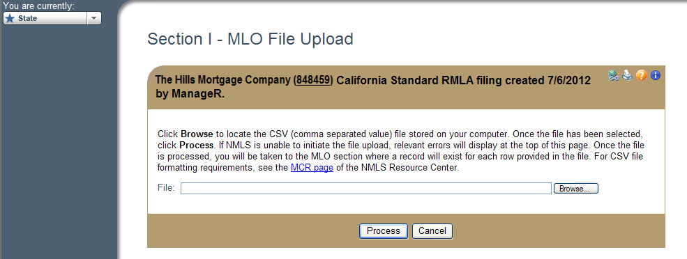 Users may also upload a CSV file of MLOs to populate Section I - MLO(s). The CSV upload option is only available if no MLOs have been entered in this section.