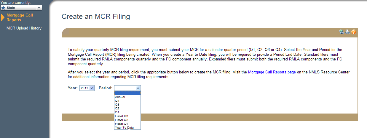 3. Click Create New MCR. NOTE: To create an MCR filing via the upload process, see the Upload an MCR Filing steps.