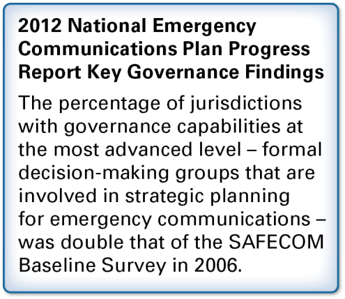 3.1 GOAL 1: GOVERNANCE AND LEADERSHIP Enhance decision-making, coordination, and planning for emergency communications through strong governance structures and leadership Role of Governance and