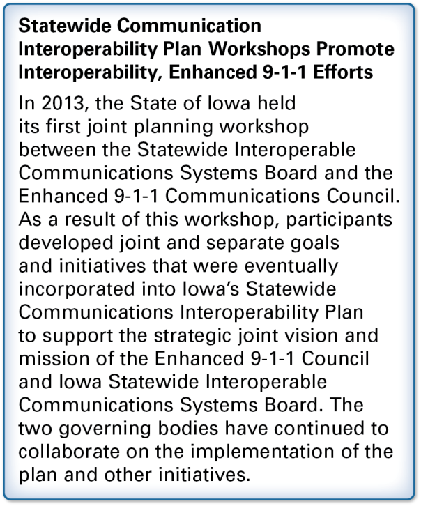 Recommendations: Update Statewide Communication Interoperability Plans to maintain Land Mobile Radio systems and address wireless broadband deployments.