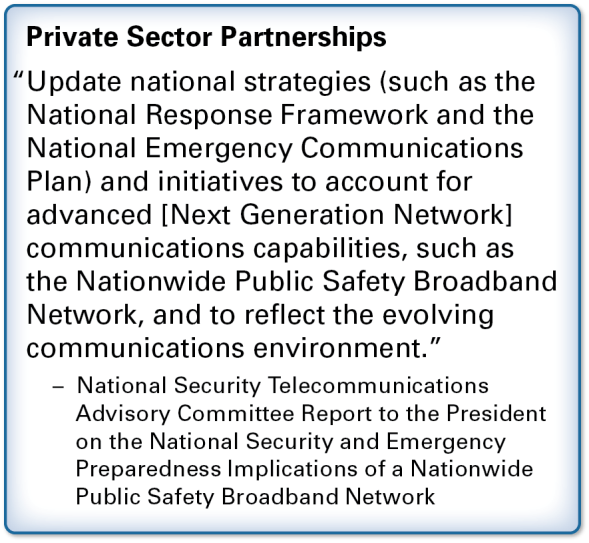 Promoting the development of national, regional, and statewide communications plans to address how available Federal assets can be incorporated during times of crisis; Promoting the alignment of