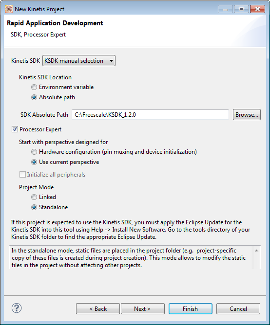 Creating a Kinetis project Figure 2-7. Rapid Application Development page NOTE See the Getting Started with SDK guide for more information on how to apply Kinetis SDK into Kinetis Design Studio. 8.