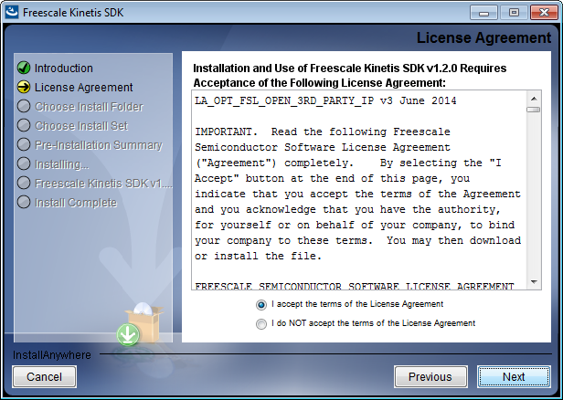 Installing Kinetis SDK 3. Click Next. The License Agreement page of the wizard appears. Figure 4-2. License installation 4.