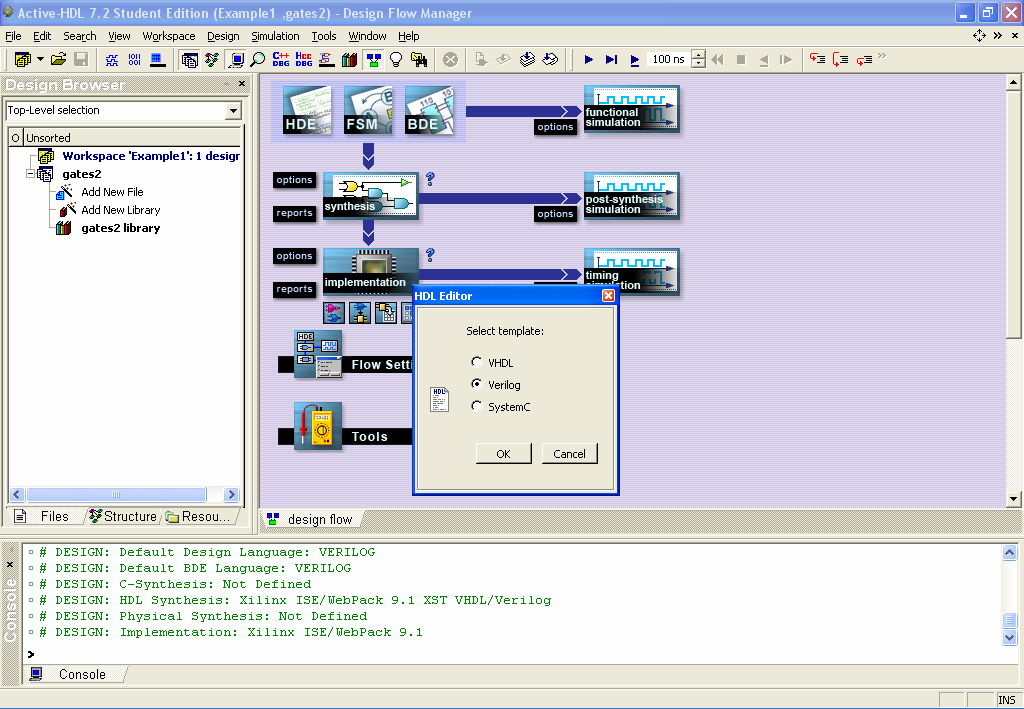 Select Verilog and Click OK.