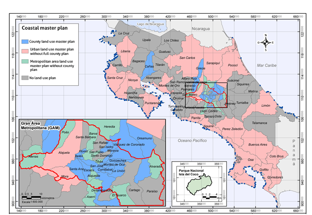 Map 2. Municipalities with land use master plans. 2011 Source: XVIII State of the Nation Report, based on ProDUS-UCR, 2012.