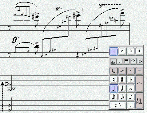 183 Example This example is taken from Sibelius, a music score editor. Just like in many drawing programs it contains many modes, for instance for entering notes.