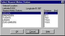 The search results will appear: The Select Nearest Meteo Station dialogue box displays the latitude and longitude of the point that you clicked, as well as the closest cities that are in the