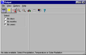 Viewing Generated Weather Data To view the results of meteorological simulation: ) on the tool bar Or ) View. Click the appropriate option from the Output dialogue box that appears.