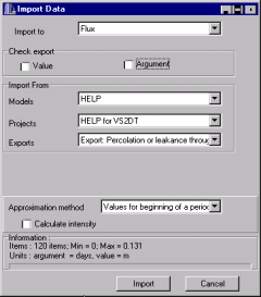 Unselect the Check export/value and Check export/argument boxes. The name of the exported Visual HELP variable will appear in the Import From/Exports drop-down list box.