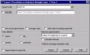 The Export:Percolation or leakance through Layer 1 dialog box will appear: This dialog box allows you to specify the following settings for data export: - the step-wise approximation method - the