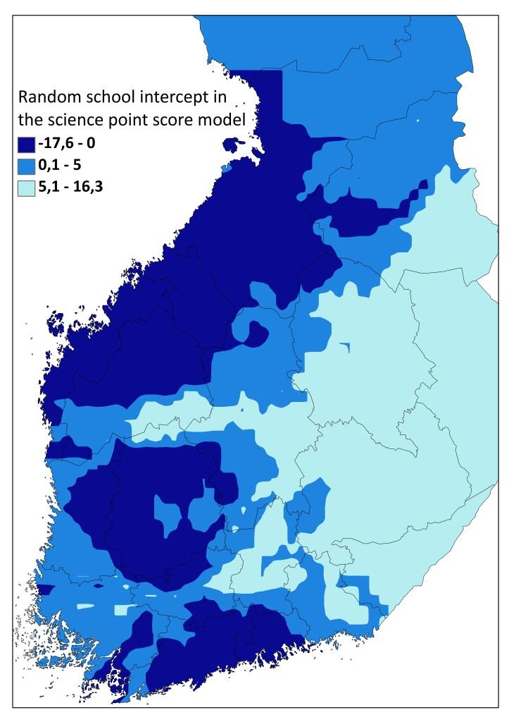 Ostrobothnia Pirkanmaa aaaa Uusimaa a) b) Figure 1. Regionally smoothed predictions (kriging) of the TIMSS science scores (a) and smoothed random school intercepts in the outlined model (b).