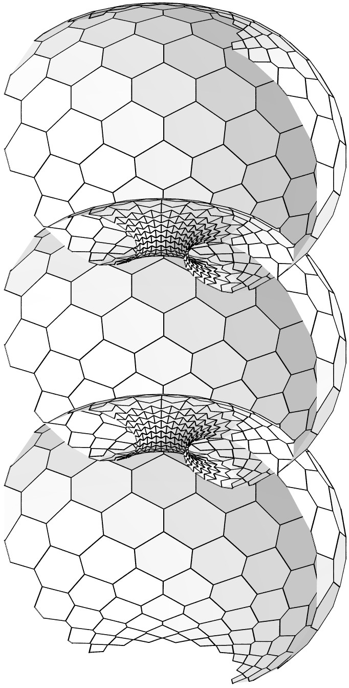 ON DISCRETE CONSTANT MEAN CURVATURE SURFACES 11 Figure 4. A hexagonal cmc surface which discretizes a nodoid.
