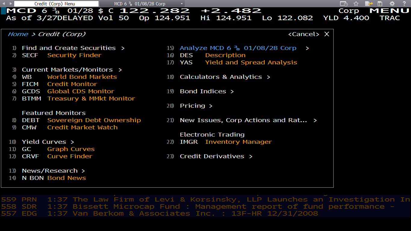 This is the general screen for Corporate securities, as you can
