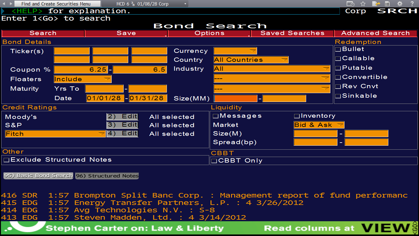 This is a sample search for bonds with coupon rates close the rate of the McDonald s bond (6.