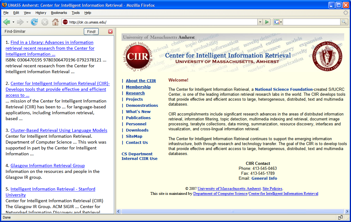 Figure 6.1. Mockup of a possible find-similar web browser add-on. Find-similar provides a list of similar web pages in the left pane given the web page currently viewed in the right page.
