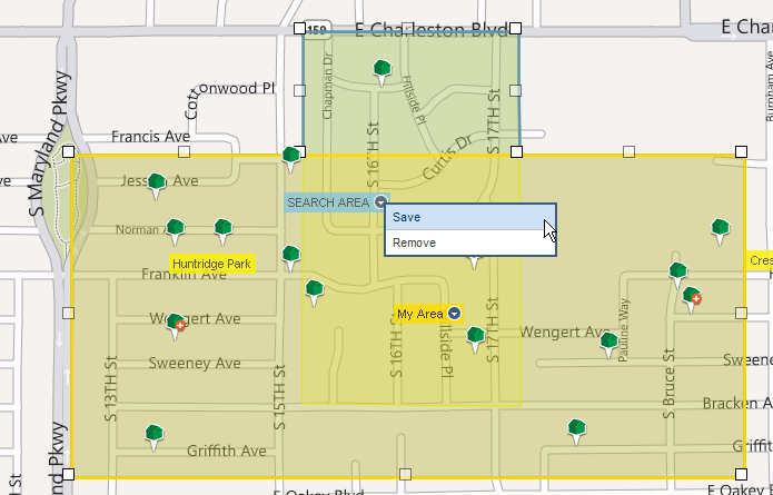 7. Click on the down arrow icon ( ) and select Save. 8. Enter a name for the new neighborhood and click Save. The new neighborhood created where two existing neighborhoods overlap is saved.