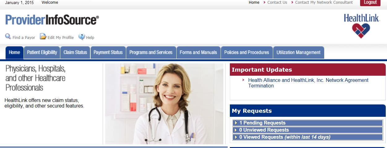 13.0 FIND A PAYOR 13.1 Overview HealthLink s Find a Payor search engine provides online access to Payor information such as telephone number and web site address (if available). 13.2 How to Find a Payor a.